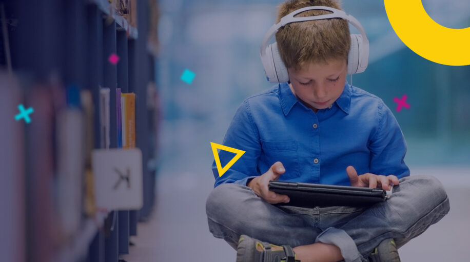 Young student with earphones and tablet