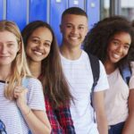 group of teenage students